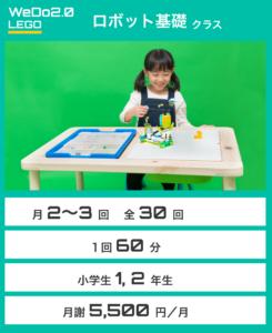 ロボット基礎 月2〜3回 全30回 1回60分 小学校1,2年生 月謝5,500円